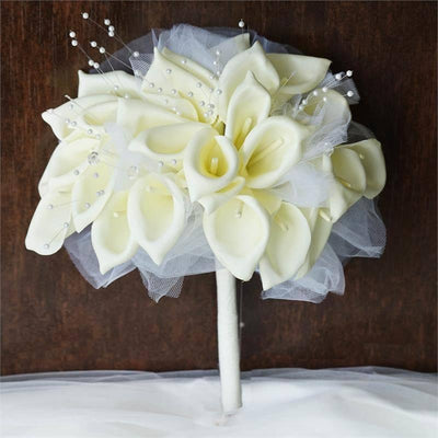 2 Pack 52 Pcs Cream Handcrafted Artificial Foam Lily Flowers