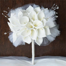 2 Pack 52 Pcs White Handcrafted Artificial Foam Lily Flowers