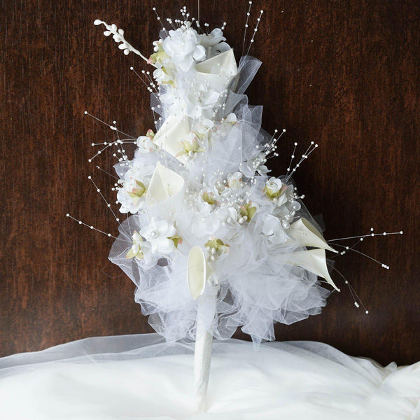 20'' Cream Lily and Tulip Bouquet - Artificial Bridal Bouquet
