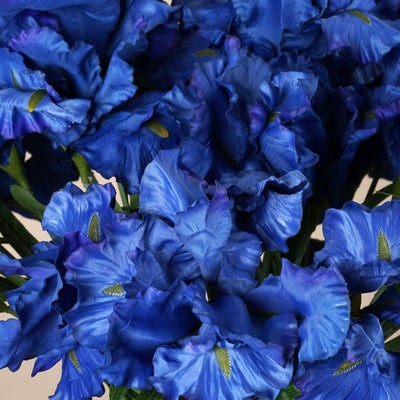 36 Artificial Large Iris Flowers Wedding Vase Centerpiece Floral Decor - Blue