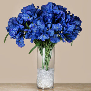 4 Bushes | 36 Pcs | Blue | Artificial Large Iris Flowers