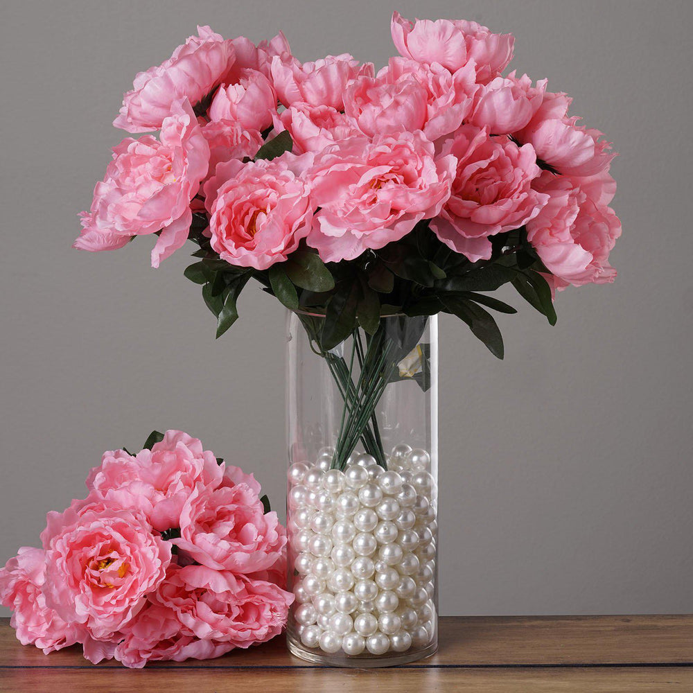 4 Pack 40 Pcs Pink Artificial Silk Peony Flowers Bridal Bouquet ...