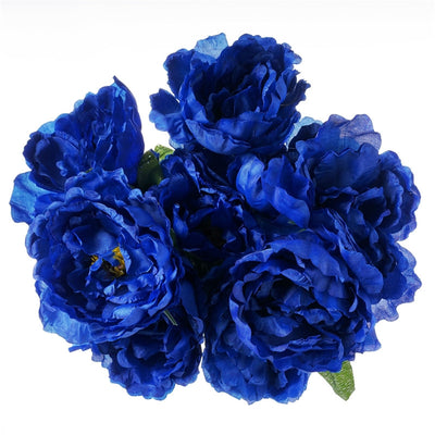 Artificial Peony Wedding Flower Bush Bouquet Centerpiece Decor - Buy 1 Get 3 Free - Royal Blue