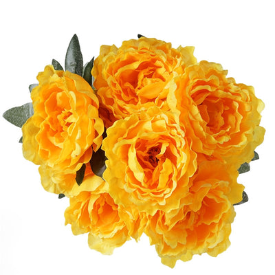 Artificial Peony Wedding Flower Bush Bouquet Centerpiece Decor - Buy 1 Get 3 Free - Yellow