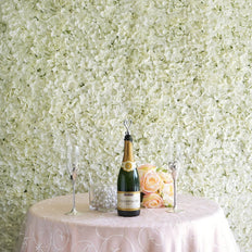 11 Sq Ft | 4 Panels UV Protected Cream Hydrangea Flower Wall Mat Panel