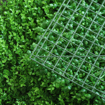 11 Sq ft. | 4 Panels | Artificial Boxwood Hedge Baby Green Leaves Foliage | Green Garden Wall Mat