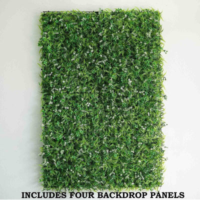 11 Sq ft. | 4 Panels Artificial Boxwood Hedge Palm Leaves Honeysuckles Shrubs and Clovers Faux Foliage Green Garden Wall Mat