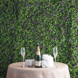 11 Sq ft. | 4 Panels Artificial Purple/Green Boxwood Hedge Faux Foliage Green Fern Flower Garden Wall Mat