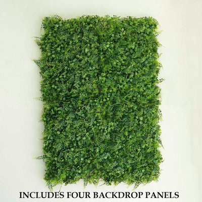 4 Panels Artificial Boxwood Hedge Black Locust and Cypress Leaves Foliage Green Garden Wall Mat