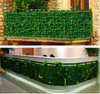 11 Sq ft. | 4 Panels Artificial White/Green Boxwood Hedge Faux Elliptical Leaves Foliage Green Garden Wall Mat