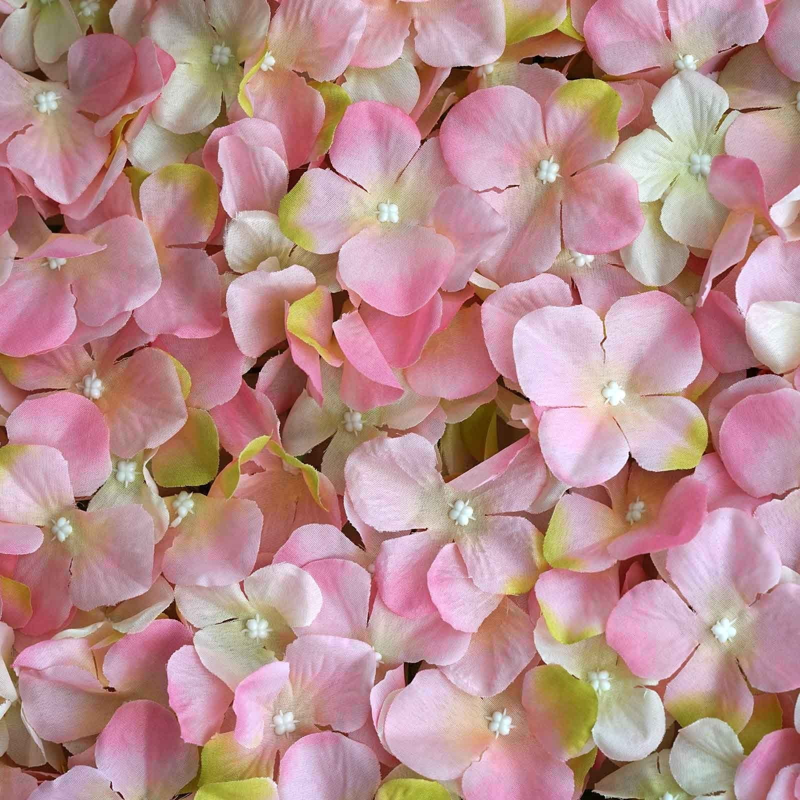4 Pack 11 Sq Ft Uv Protected Pink Cream Hydrangea Flower Wall Diy