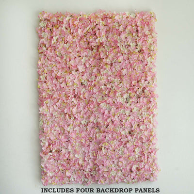 11 Sq Ft | 4 Panels UV Protected Pink | Cream Hydrangea Flower Wall Panel