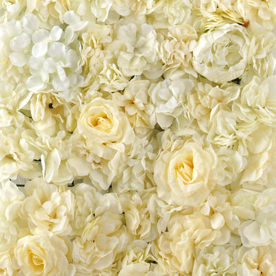 13 Sq ft. | SET of 4 |  UV Protected Assorted Silk Flower Wall Panels | Flower Wall Backdrop - White | Champagne