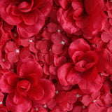 4 Pack 11 Sq ft. UV Protected 3D Red Silk Rose & Hydrangea Flower Wall Mat Panel
