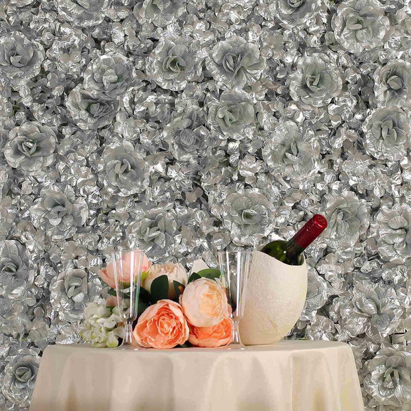 4 Panels 11 Sq ft. UV Protected 3D Silver Silk Rose & Hydrangea Flower Wall Mat Panel