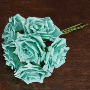 36 Artificial Foam Rose Flowers for Wedding Bouquet Vase Centerpiece Decor - Aqua