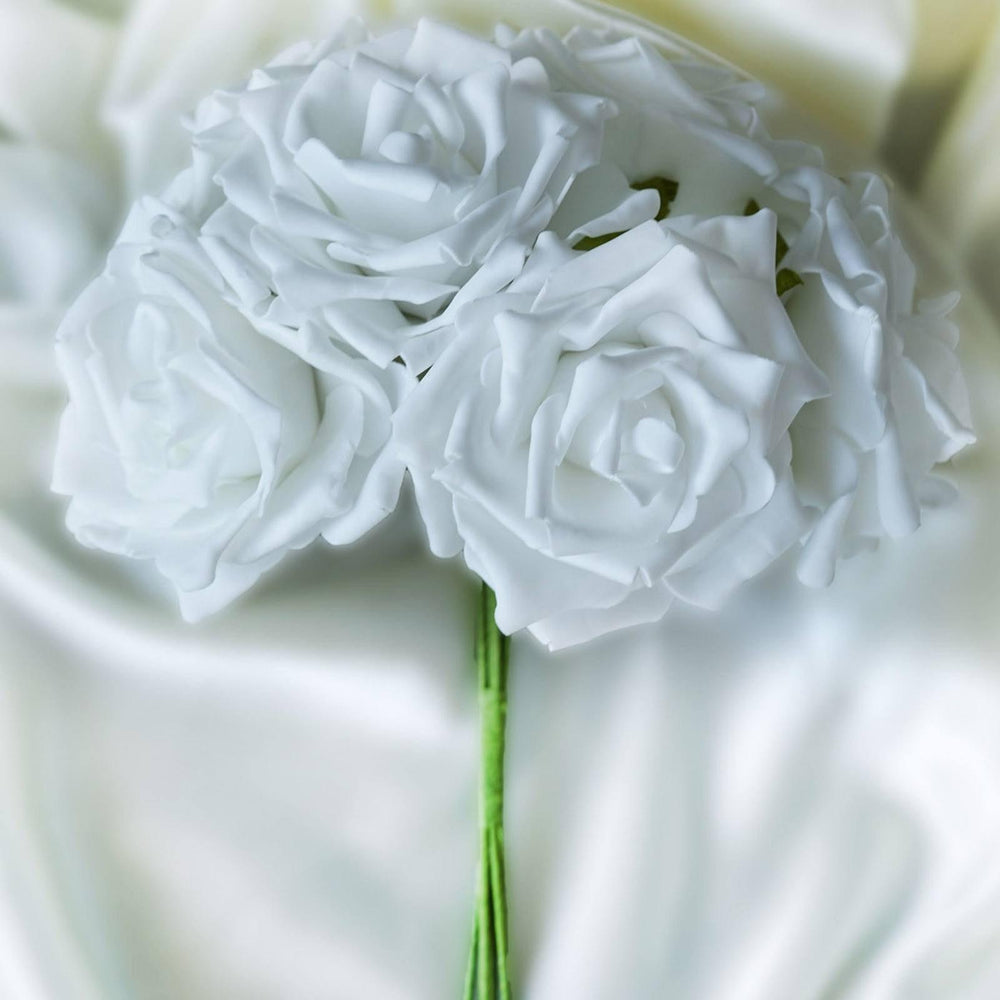 6 Pack 36 Pcs White Artificial Foam Rose Flowers Bridal Bouquet