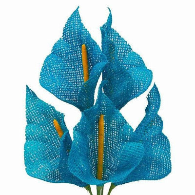 25 Pcs Turquoise Burlap Calla Lilly Flowers | Artificial Craft Flowers