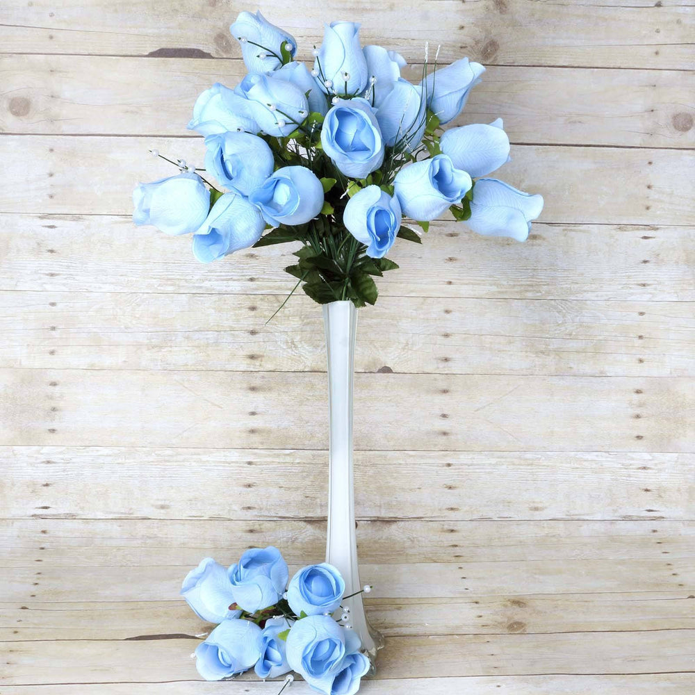6 Bush 42 pcs Blue Artificial Velvet Rose Bud Flowers Bridal Bouquet ...