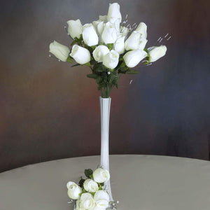 42 Giant Velvet Rose Buds on Long Stems - Ivory