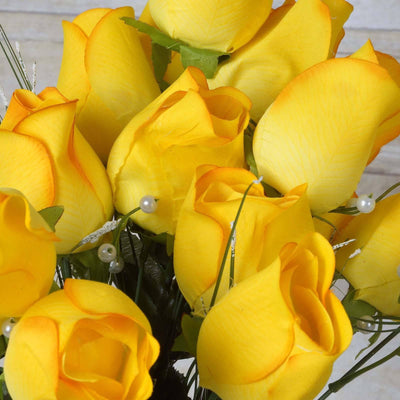 42 Giant Velvet Rose Buds on Long Stems - Yellow