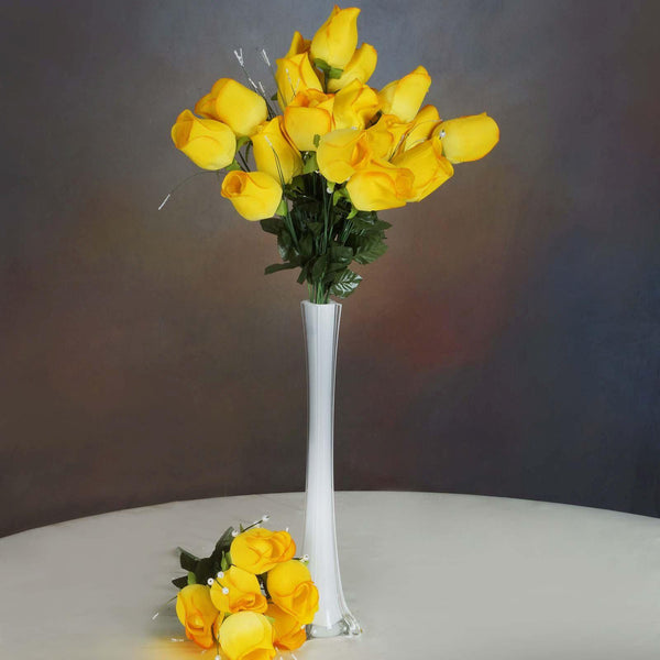 6 Bush 42 pcs Yellow Artificial Velvet Rose Bud Flowers - Clearance SALE