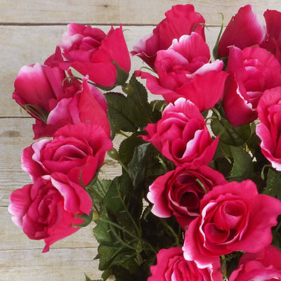 48 Artificial Rose Wedding Flower Bundles Vase Centerpiece Decor - Fushia
