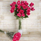 4 Bush 48 Pcs Fushia Artificial Long Stem Rose Flowers