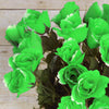 4 Bushes | 48 Pcs | Lime Green | Artificial Long Stem Rose Flowers