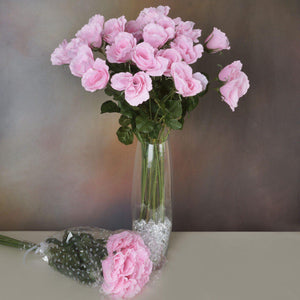 48 Artificial Rose Wedding Flower Bundles Vase Centerpiece Decor - Pink