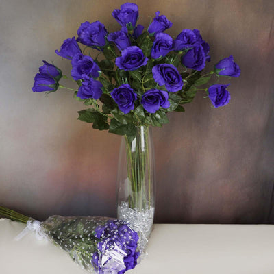 48 Artificial Rose Wedding Flower Bundles Vase Centerpiece Decor - Purple