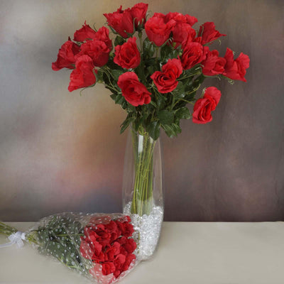 48 Artificial Rose Wedding Flower Bundles Vase Centerpiece Decor - Red