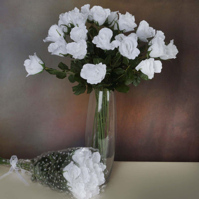 48 Artificial Rose Wedding Flower Bundles Vase Centerpiece Decor - White