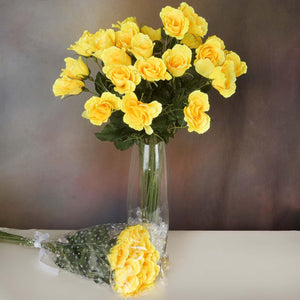 48 Artificial Rose Wedding Flower Bundles Vase Centerpiece Decor - Yellow