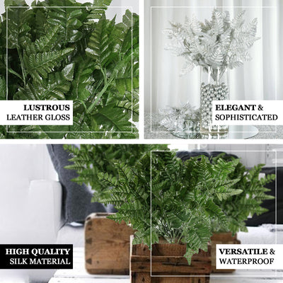 12 Bush 144 pcs Greenery Artificial Leather Fern Branches - Clearance SALE