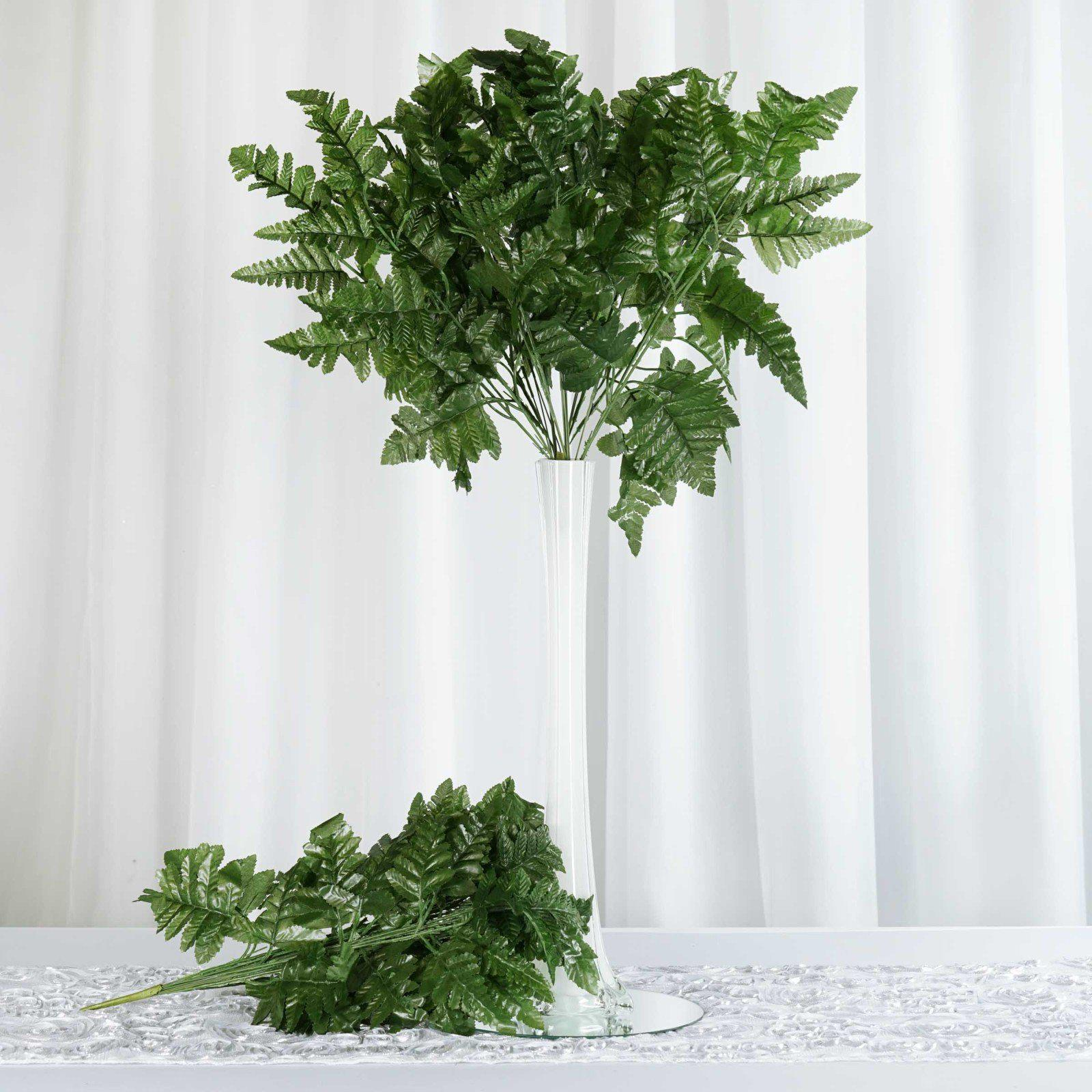 144 Wholesale Artificial Green Leather Fern Branches Vase ...