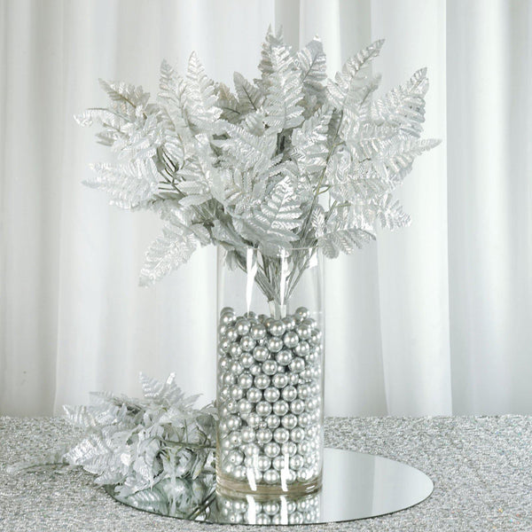 12 Bush 144 pcs Silver Artificial Leather Fern Branches - Clearance SALE