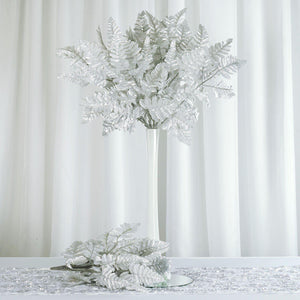 144 Wholesale Artificial Leather Fern Branches Wedding Vase Centerpiece Decor - Silver