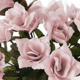 12 Bushes 84 pcs Rose Gold/Blush Artificial Silk Rose Flowers With Green Leaves