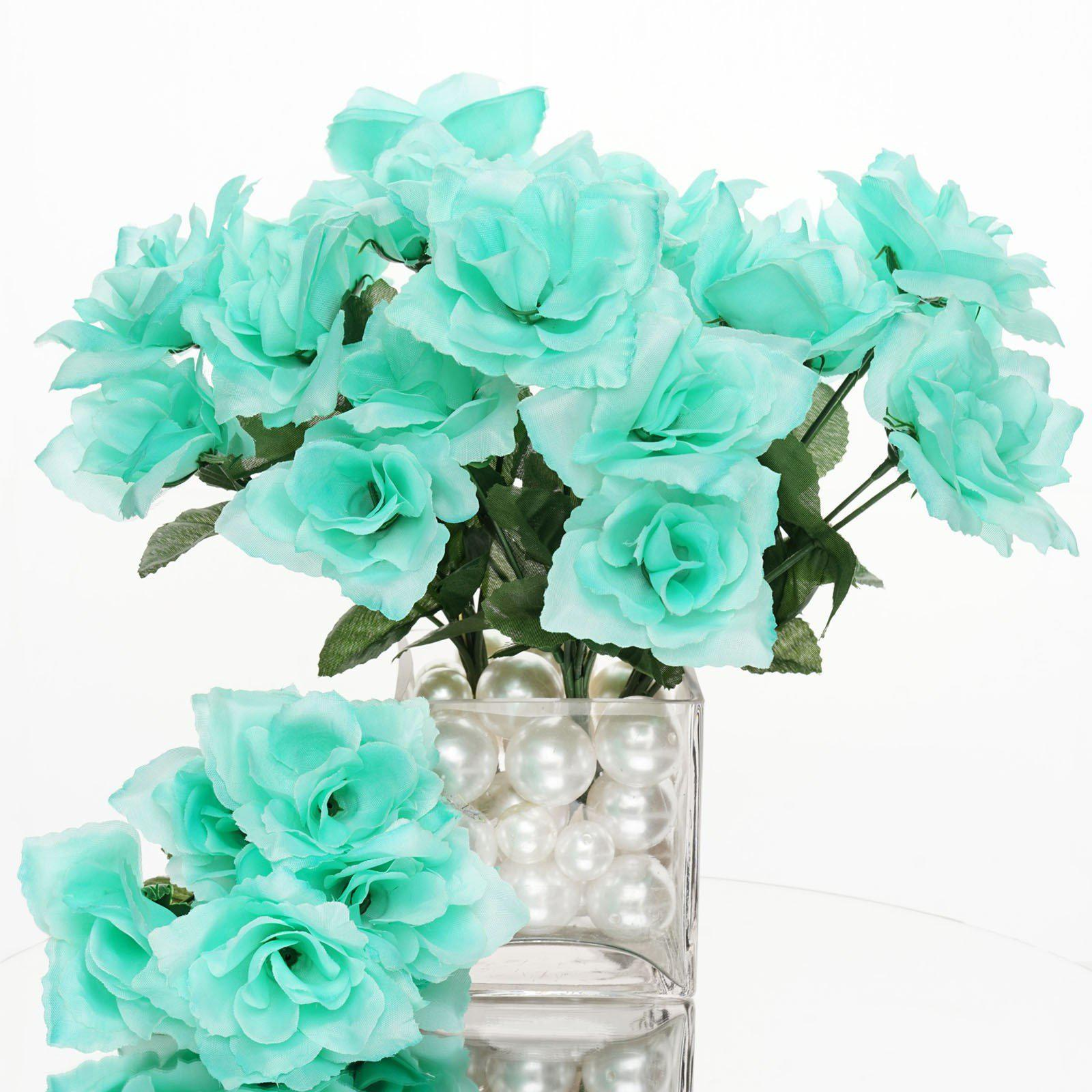 12 Bushes 84 Pcs Aqua Artificial Silk Rose Flowers With Green Leaves