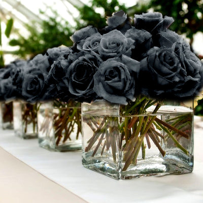 84 Artificial Silk Open Roses Wedding Flower Bouquet Centerpiece Decor - Black