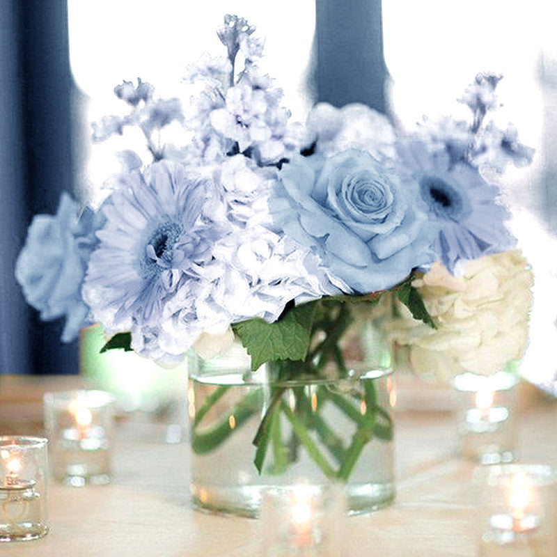 12 Bushes 84 pcs Baby Blue Artificial Silk Rose Flowers With Green ...
