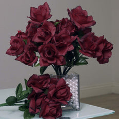 12 Bushes 84 pcs Burgundy Artificial Silk Rose Flowers With Green Leaves