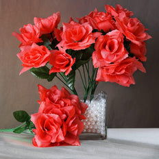 84 Artificial Silk Open Roses Wedding Flower Bouquet Centerpiece Decor -  Coral