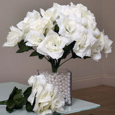 84 Artificial Silk Open Roses Wedding Flower Bouquet Centerpiece Decor -  Cream