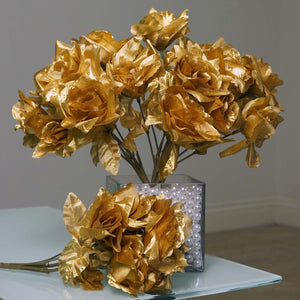 12 Bushes 84 pcs Gold Silk Artificial Roses Wholesale Flowers With Green Leaves