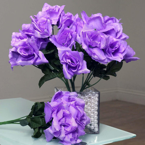 12 Bushes 84 pcs Lavender Artificial Silk Rose Flowers With Green Leaves