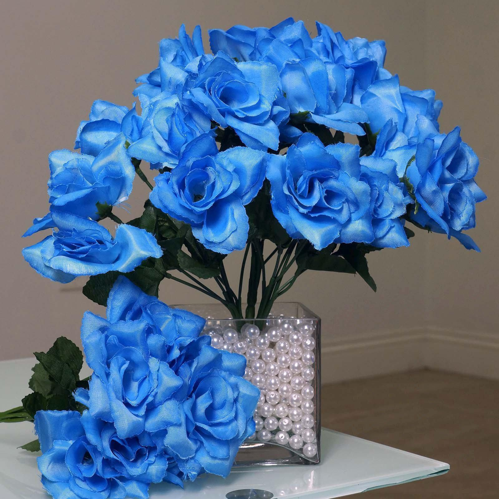 12 Bushes 84 Pcs Blue Artificial Silk Rose Flowers With Green Leaves