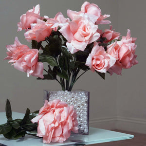 84 Artificial Silk Open Roses Wedding Flower Bouquet Centerpiece Decor - Peach
