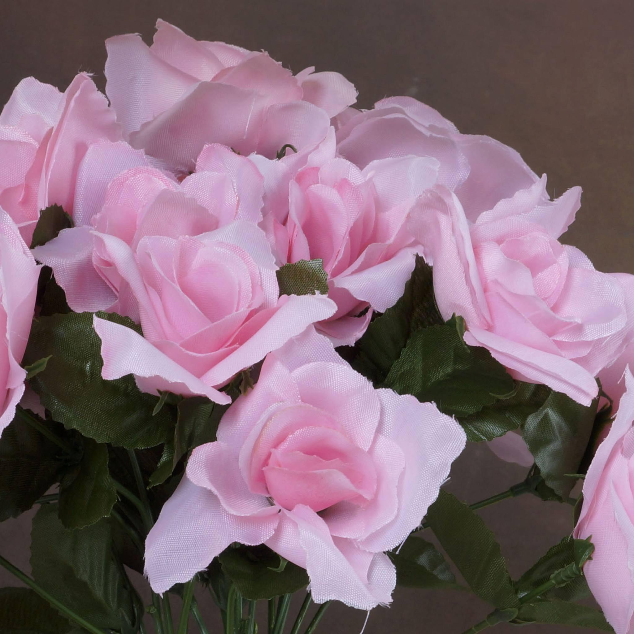 12 Bushes 84 pcs Pink Artificial Silk Rose Flowers With Green Leaves ...